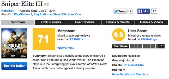 Автор Sniper Elite 3: «Никто не беспокоится о Metacritic» - Изображение 1