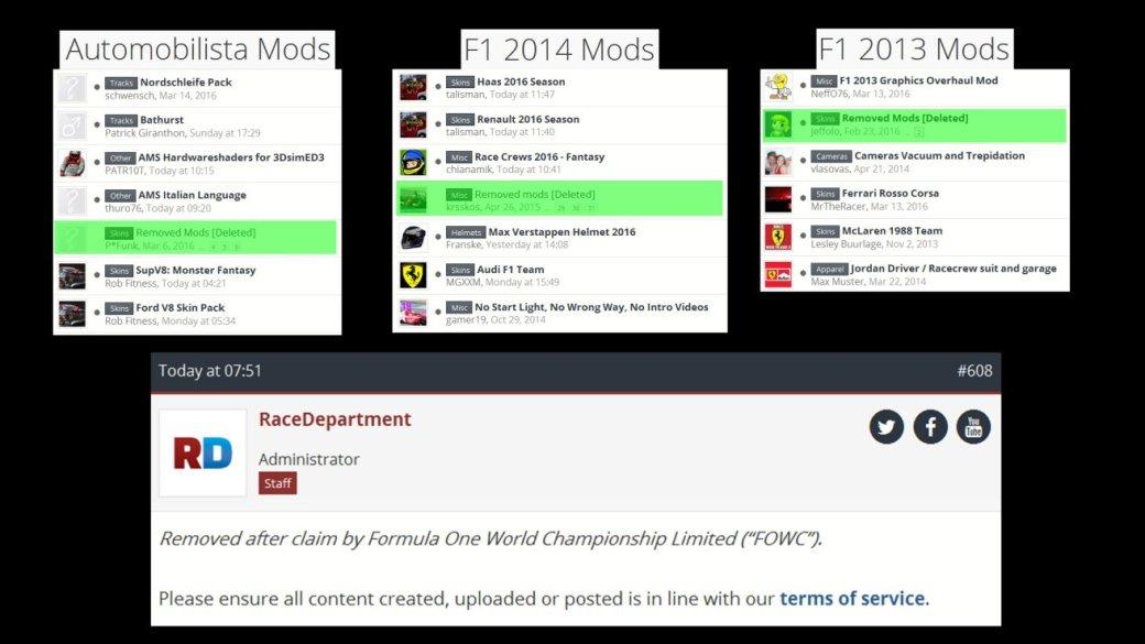 Моды «Формулы 1» убрали из Интернета за нарушение авторских прав - Изображение 2
