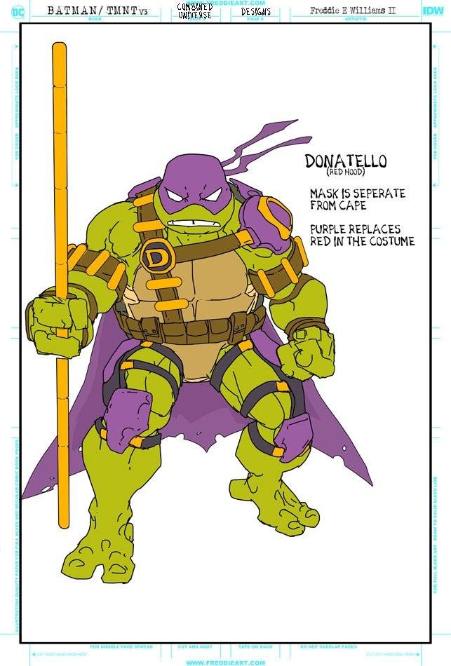 Втретьем кроссовере Черепашек-ниндзя иБэтмена появятся гибриды героев. Например, Найтвинг-Леонардо   Канобу - Изображение 7261