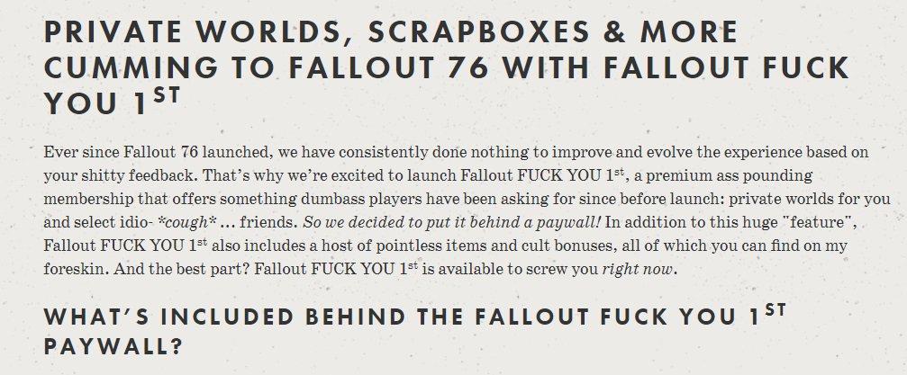 Хейтеры заняли домен подписки для Fallout 76. Теперь на сайте она называется Fallout Fuck You First | Канобу - Изображение 0