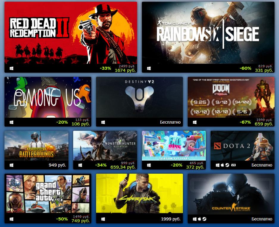 Steam назвал самые продаваемые игры 2020. В списке лучших Cyberpunk, Among Us и Doom Eternal